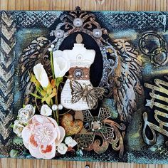 """""""Faith"""" My scrappy altered, emerald creek embossing powders"""