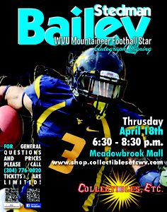 Stedman Bailey is stopping by Meadowbrook Mall in Bridgeport, WV Sat April 18 on his way to the NFL Draft. Mountaineers Football, Wvu Football, Mall, Events, This Or That Questions, Blue