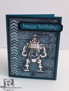 Robot Card by Patti Behan | www.rangerink.com using Tim Holtz, Ranger, Idea-ology, Sizzix and Stamper's Anonymous products; Mar 2015