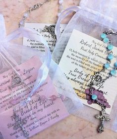 Rosary Communion Favors with custom card.