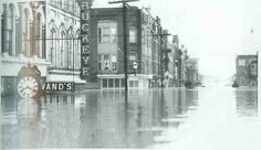 Front Street at Butler Jan. 24,1937.Two day later, the J. Wittlig & Sons clock at 208 Front St. was underwater. Ten and a half feet of water filled the lobby of the Lafayette Hotel on Jan. 27,1937.