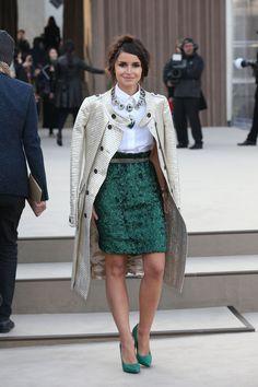 Miroslava Duma at the Burberry Prorsum Autumn/Winter Womenswear at Kensington Gardens, Part of London Fashion Week.