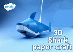 3D Shark paper craft, print out and make in time for Shark Week! Shark mobile, in colour, black and white and different sizes! - twinkl #sharkweek