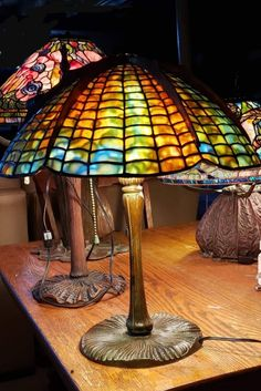 Tiffany repro spider shade made by joanne leary stained glass artist Spider Lamp, Tiffany Lamps, Stained Glass, Table Lamp, Glass Lamps, Shades, Chandeliers, Artist, Modern
