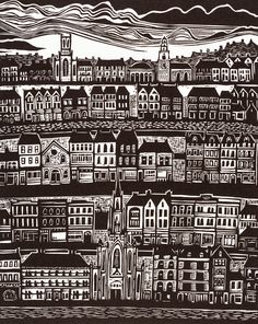 Father Mathews Quay Linocut by Anita Laurence. Available at www.cascadeprintroom.com.au
