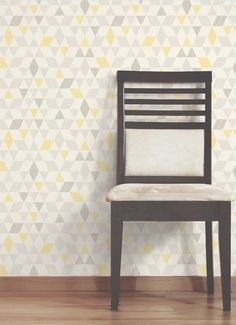 Colours Ailsa Soft lemon Geometric Smooth Wallpaper - B&Q for all your home and garden supplies and advice on all the latest DIY trends Hall Wallpaper, Kitchen Wallpaper, Print Wallpaper, Geometric Wallpaper Kitchen, Hallway Colours, Bedroom Wall Colors, Living Room Grey, Living Room Decor, Dining Room