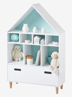 Meuble de rangement 9 cases Maison blanc/bleu - Quel plaisir de ranger jouets, livres et même vêtements dans cette jolie maison pleine de rangements ! DIMENSIONS Hauteur : 126 cm x Largeur : 82 cm x Profondeur : 30 cm. Meuble de rangement compos