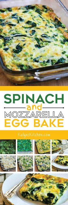 Low-Carb Spinach and Mozzarella Egg Bake is simple to make and it's one of the most popular low-carb and Keto breakfast on my site and this recipe is perfect for Weekend Food Prep! Healthy Breakfast Bowl, Low Carb Breakfast, Breakfast Dishes, Breakfast Time, Breakfast Casserole, Breakfast Recipes, Breakfast Ideas, Dinner Healthy, Healthy Recipes