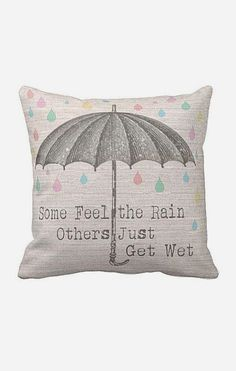 Pillow Cover Umbrella with Pastel Raindrops