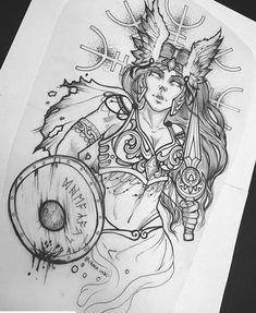 Dope Tattoos, Badass Tattoos, Unique Tattoos, Tattos, Norse Mythology Tattoo, Greek Mythology Tattoos, Pagan Tattoo, Norse Tattoo, Tattoo Design Drawings