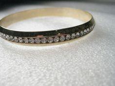"""Vintage Gold Tone Channel Set Clear Rhinestone Bangle Bracelet, 7.5"""", 8.5 mm wid #Unsigned #channelsetbanglebracelet"""