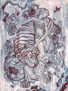 Artist: James Jean {contemporary fantasy surreal illustrator woman and tiger drawing #noveltechnique} jamesjeanart.tumblr.com