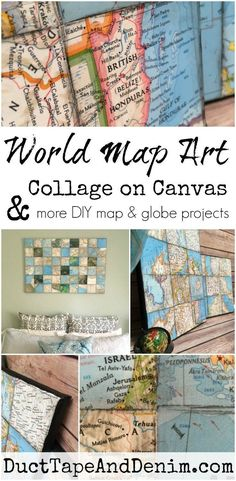 World map art collage on canvas, more DIY map and globe projects on http://DuctTapeAndDenim.com
