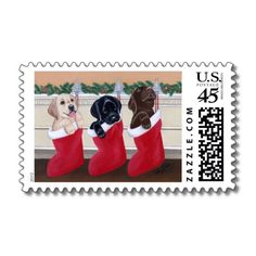 Cute lab puppies stamp.