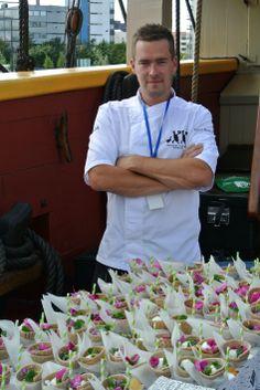 EWÄS served by chef Arto Rastas. Street-food & catering, at opening of Tall Ships Races Helsinki 2013. www.ewas.fi - www.facebook.com/ewas.streetfood