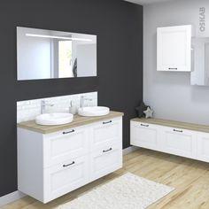 Ensemble salle de bains Meuble STATIC Blanc Plan de toilette Hosta Double vasque Miroir lumineux L120 x H70 x P50 cm - Oskab
