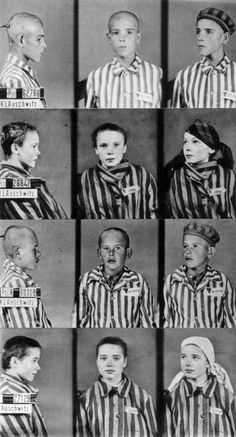 Portraits of some child inmates of Auschwitz...looks like some of them have a triangle next to their name (possibly a purple triangle?) identifying them as Jehovah's Witnesses?!