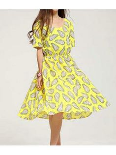 Knee Length Leaf Print Short Sleeve A Line Dress