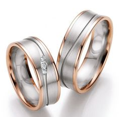 Rose gold white gold wedding ceremony rings Lovely wedding ceremony rings manufactured from pink gold and white gold from the gathering Ruesch. By Engagement Ring ceremony Ring Ring, Couple Bands, Or Rouge, White Gold Wedding Rings, Copper Jewelry, Jewelry Box, Wedding Band Sets, Types Of Rings, Love Ring