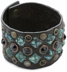 "Streets Ahead 1.5"" Cuff Bracelet with Jet Black Swarovski Stones Streets Ahead. $60.00. Hand made in USA. Fastens with collar studs adjustable to fit 6-7"". Brown Cuff With Patina Pyramids, Copper Studs And Black Swarovski. Made in USA"