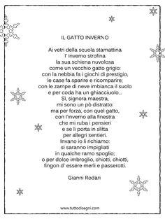 Poesia sull'inverno per bambini Recycled Toys, Vintage School, Italian Language, Learning Italian, Creative Kids, Nursery Rhymes, Short Stories, Verses, Lyrics
