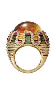 "CARTIER. ""Teinte"" Ring - yellow gold, citrines, green tourmalines, rubellites, onyx, brilliant-cut diamonds"