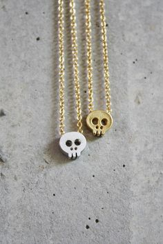 Itsy Bitsy Skull Necklace  Silver or Gold by shopkei on Etsy, $25.00
