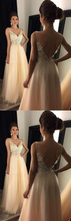V-Neck Prom Dresses With Appliques, Beaded Long A-line Tulle Prom Dresses, Long Evening Dress, Prom Dress G367#prom #promdress #promdresses #longpromdress #2018newfashion #newstyle #promgown #promgowns #formaldress #eveningdress #eveninggown #2018newpromdress #partydress #meetbeauty #aline #vneck #applique #beaded #tulle