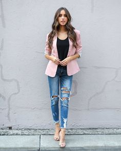 Suits Me Pocketed Blazer - Dusty Pink