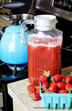 This Strawberry Tea looks like the perfect drink to make with all the fresh strawberries of summer #strawberry #drink #summer #tea #nonalcoholic