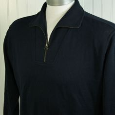 Faconnable Designed in France Navy 100% Cotton 1/4 Zip Pull Over Mens XL $155 #Faconnable #12Zip