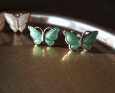 Vintage Volmer Bahner Sterling Silver Enamel Petite Butterfly Stud Earrings