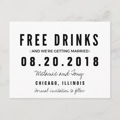 Funny Free Drinks Wedding Save the Dates Announcement Postcard Indian Wedding Receptions, Chicago Wedding Venues, Wedding Mandap, Wedding Art, Wedding Humor, Wedding Ideas, Wedding Paper, Gold Wedding, Wedding Details