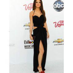 Sexy Floor Length Black Halter Neck Chiffon Selena Gomez Celebrity Dresses 2016 Off the Shoulder Sleeveless with High Slit