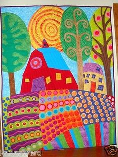 RUG-HOOKING-CRAFT-PAPER-PATTERN-Barn-Garden-Landscape-Folk-Art-KARLA-GERARD
