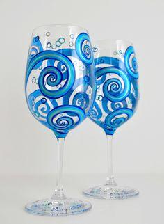Painted Wine Glasses  Ocean Waves Toasting by MaryElizabethArts, $120.00