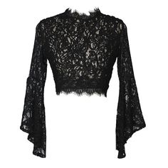 Gothic Wiccan Lace Sheer Flare Sleeves Crop Top - All About Cropped Tops, Lace Crop Tops, Black Lace Crop Top, Crop Top With Sleeves, Sheer Lace Top, Floral Crop Tops, Solid Black, Crop Top Styles, Alternative Mode