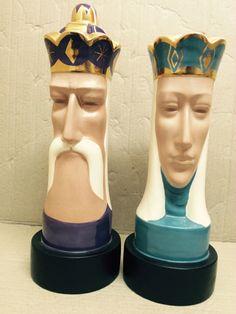 Oversized Peter Ganine 1947 Mid Century King and Queen Chess Piece Brayton Laguna, Gothic
