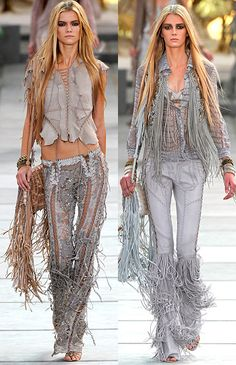 Style obsession - Roberto Cavalli Spring 2011 Collection from fringe accent to croc print trousers. Look Fashion, Runway Fashion, High Fashion, Fashion Outfits, Womens Fashion, Fashion Design, Fashion Trends, Gypsy Style, Bohemian Style