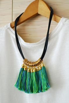 Gold statement necklace Tassel necklace Fringe necklace Green tribal necklace…Make with t-shirt yarn Tassel Jewelry, Fabric Jewelry, Leather Jewelry, Beaded Jewelry, Jewelery, Handmade Jewelry, Gothic Jewelry, Jewelry Necklaces, Fringe Necklace