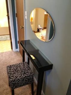 Ikea Makeup Vanity Tutorial Small Shelf Vanity with Adils Legs – Lisa Ritter - House Decorators Collection Ikea Makeup Vanity, Makeup Vanities, Vanity Shelves, Ikea Table, Small Shelves, Beauty Room, Apartment Living, Home Projects, Small Spaces