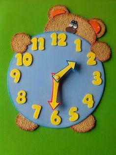 Herthal art's: relógio manual ursinho para ensinar as horas para ...
