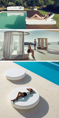 Purity and simplicity, impeccable round mattress and comfortable Daybed Vela by Vondom are perfect on the edge of a very modern overflow pool.If you add the Pergola, it is a real wonder! Discover all the Vela sun beds collection on barazzi.com #barazzi #pool #daybed #inspiration