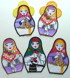 Advanced Embroidery Designs - Russian Doll Ornaments
