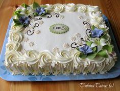 Wedding Sheet Cakes, Birthday Sheet Cakes, Easy Cake Decorating, Cake Decorating Techniques, Bolo Tinker Bell, Mother Birthday Cake, Flower Cake Design, Sheet Cakes Decorated, Sheet Cake Designs