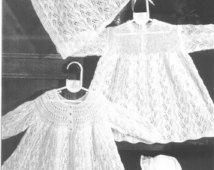 Knit Baby Dress Cardigan Shawl Vintage Knitting Pattern Christening beanie baby blanket Matinee coat sweater layette jumper pdf download