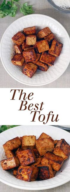 The best tofu recipe comes together with simple ingredients like soy sauce, lemon juice, and maple syrup. Vegan, gluten-free, and the perfect crispy texture! #tofu #vegan #glutenfree