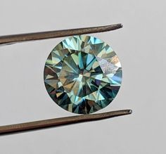 Green-Blue Round to Ct VVS Loose Moissanite for sale Genuine
