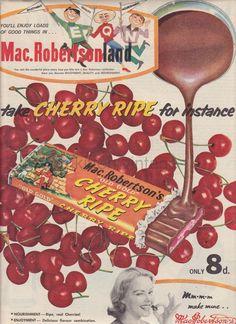 Cherry ripe 1960 Australia Vintage Candy, Vintage Labels, Vintage Posters, Retro Vintage, Vintage India, Vintage Food, Retro Advertising, Retro Ads, Vintage Advertisements