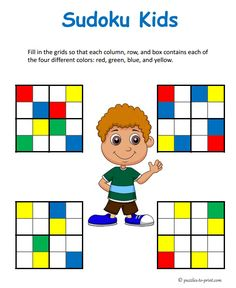 These sudoku puzzles are great for kids that like to color. The logic is the same as for number sudokus.